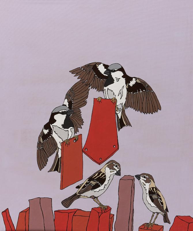 Image shows sparrows dismantling Roman City
