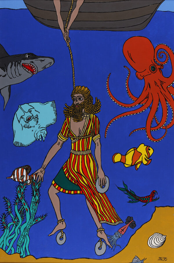 """Gilgamesh is lowered to the ocean floor to pick the herb, """"the old man becomes young"""""""