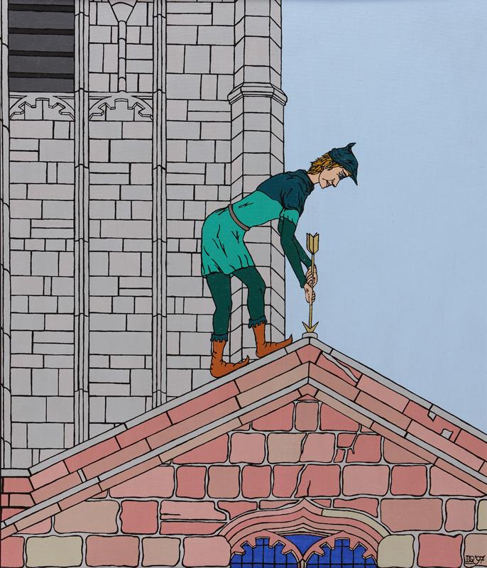 Robin Hood trying to retrieve his arrow.