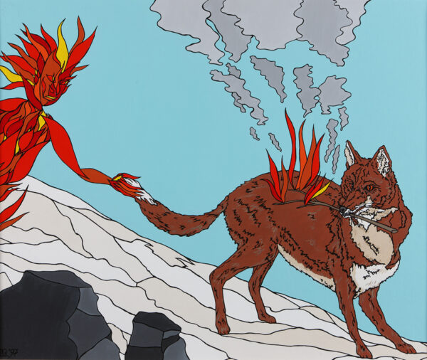 Coyote steals a flaming branch from the fire-beings