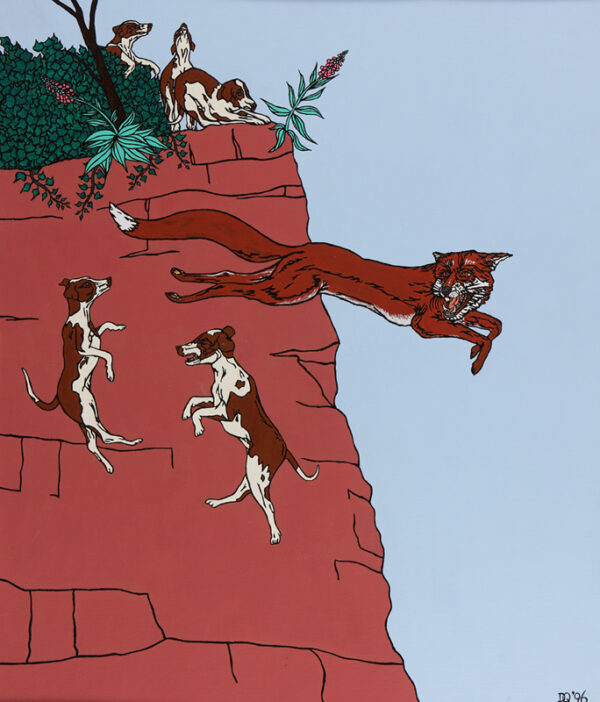 The fox jumps off the cliff taking some hounds with him
