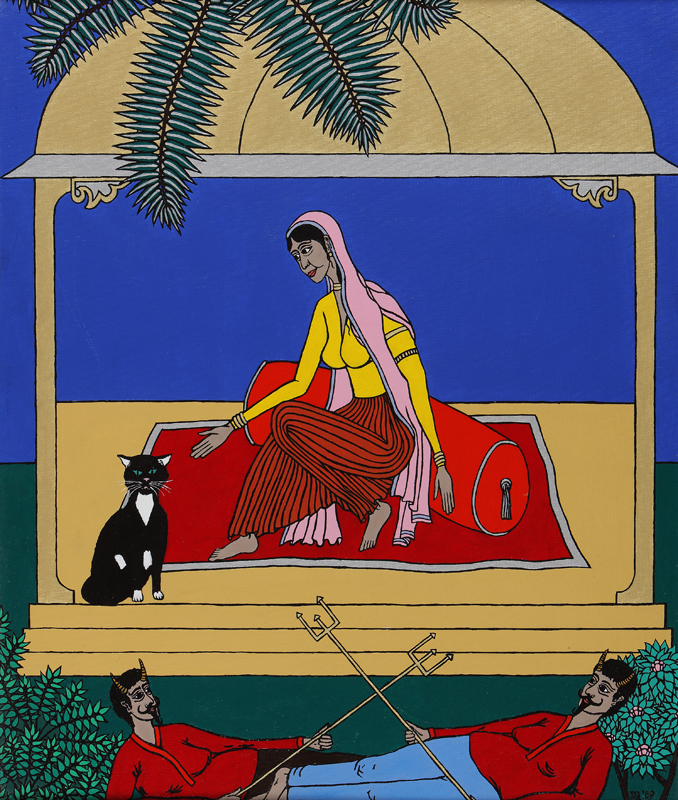 Hanuman disguised as a black cat finds Sita under a pavillion guarded by demons