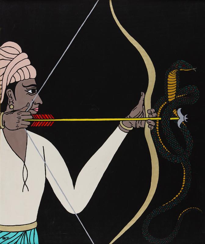Rama lets loose the arrow of Brahma