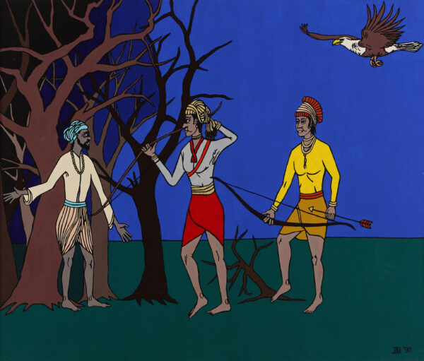 Rama and Lakshmana follow the holy man into the forest