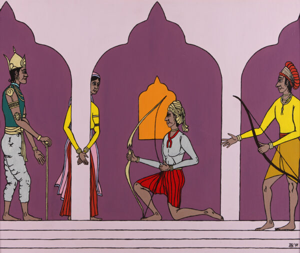 The golden bow cracks as Rama pulls back the bowstring