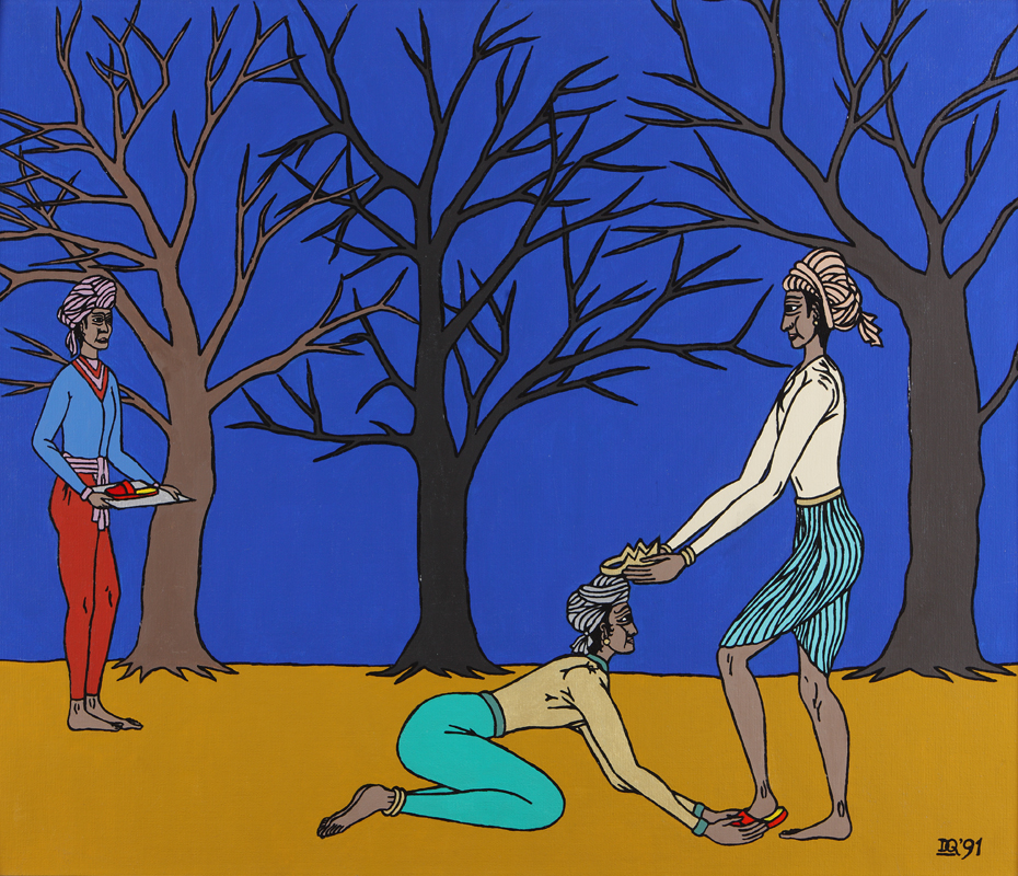 Rama is banished to the forest, Bharata takes his slippers to place on the throne