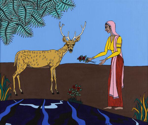 Sita feeds a deer
