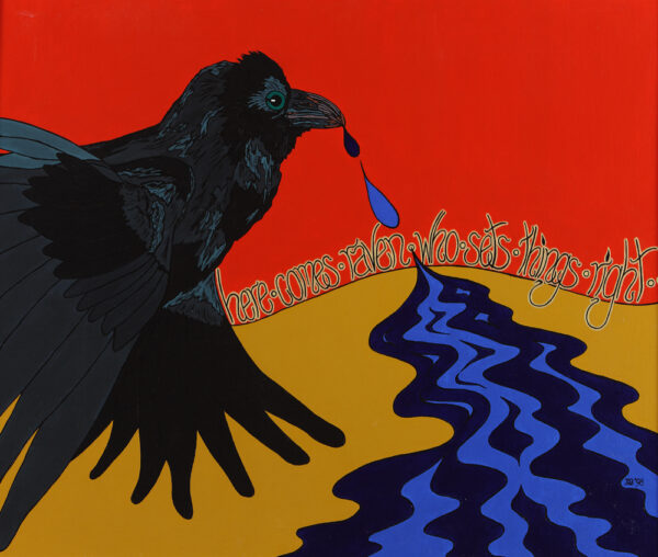 Raven spits a river onto the parched ground