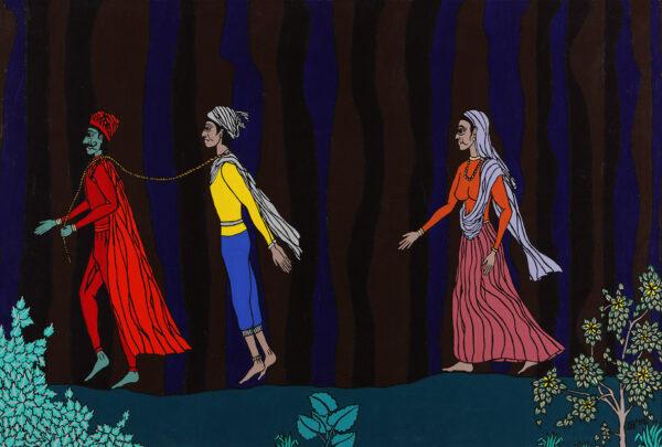 Yama takes Satyavan, but Savitri follows
