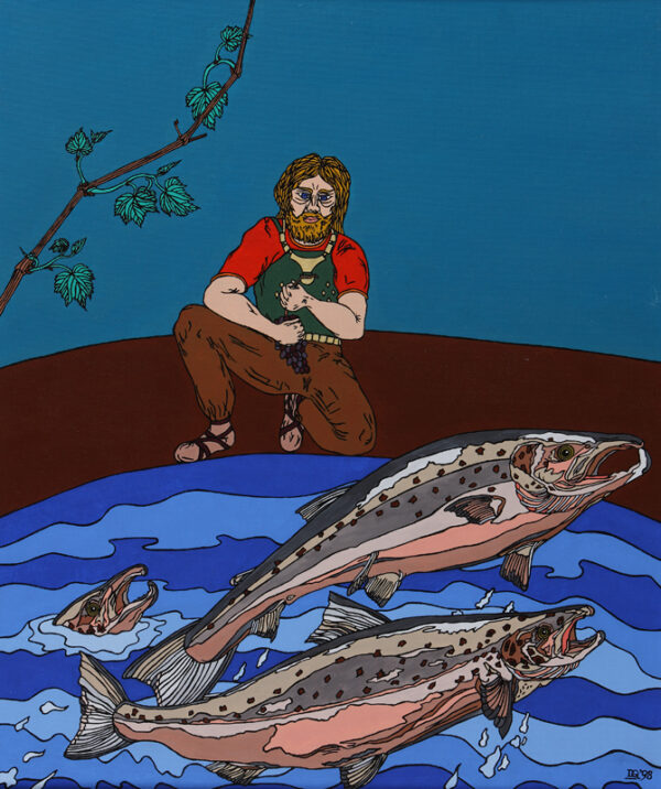 Tyrkir discovered massive salmon in the streams and fermented grapes on the vines