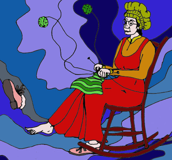 Mrs Ellis just a-sittin' and a-knittin' underwater coloured line drawing by Dez Quarrell
