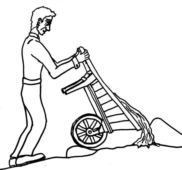 A man burying a giant